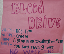 """Bloody good time"" OHS hosts their first fall blood drive"