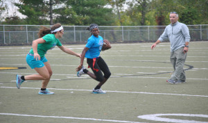 Sharks swallow squids in annual powder puff game