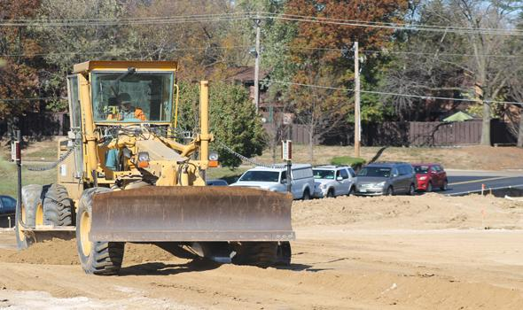 Construction begins on the tennis courts