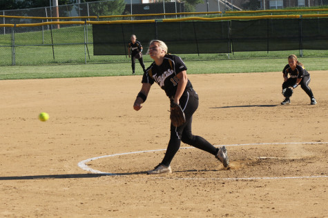 Alex Frenz (12), shown here, pitched a complete game in the 1-0 win against Parkway South on Monday, Sept. 8.