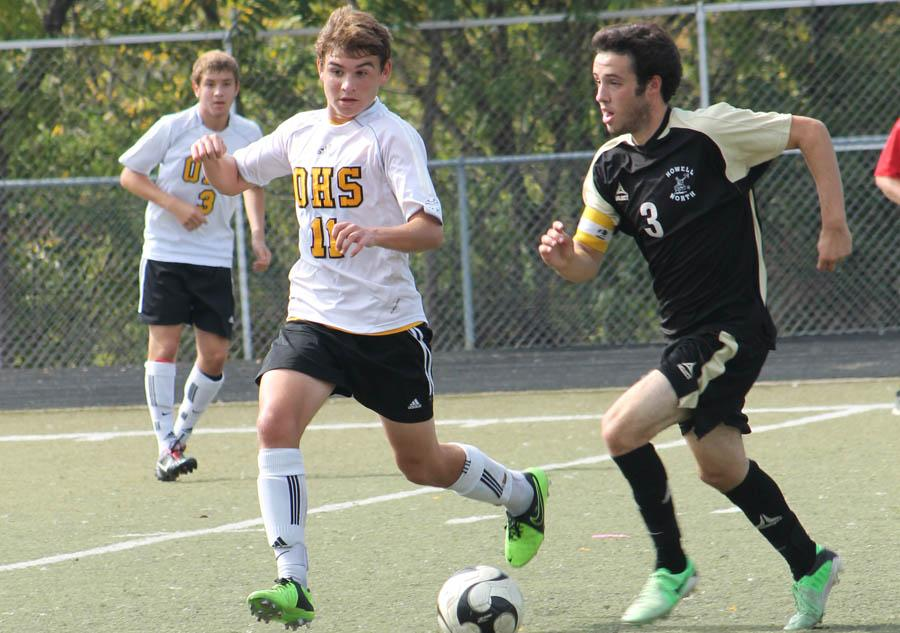 Thomas Hutcheson (12), shown here last season against Francis Howell North, leads the OHS varsity soccer team this season with eight goals in six games.