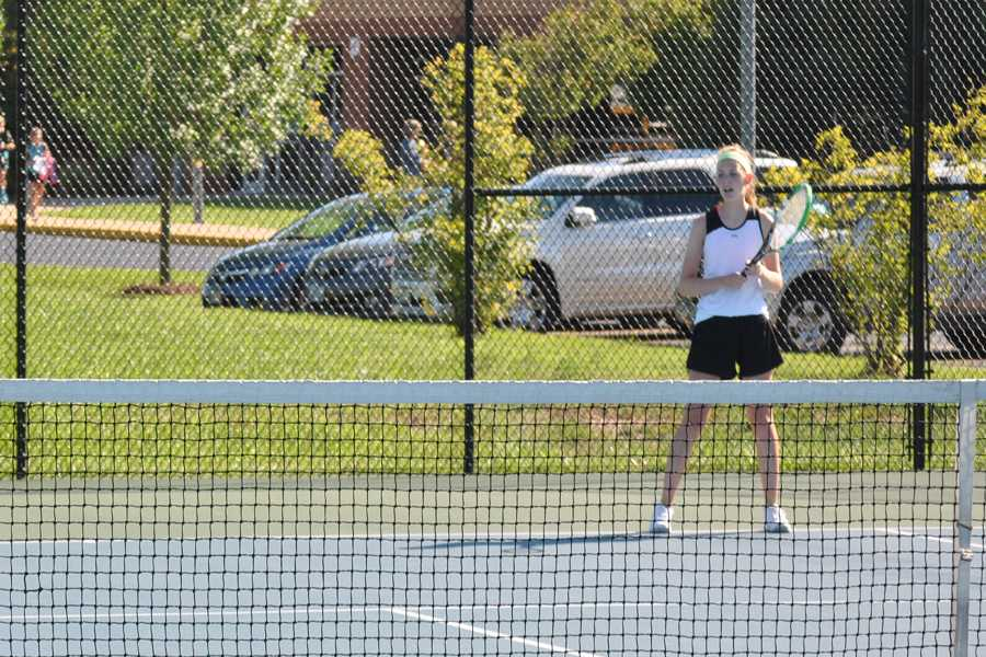 Kate Giles (11), the top OHS tennis player, has gone to districts the past two years.