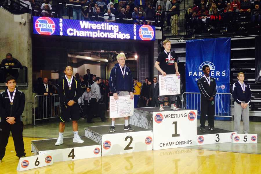 Austin Neal (11) finishes fourth in the 145 lb. weight class at the state wrestling championship in Columbia, MO on Feb. 21.