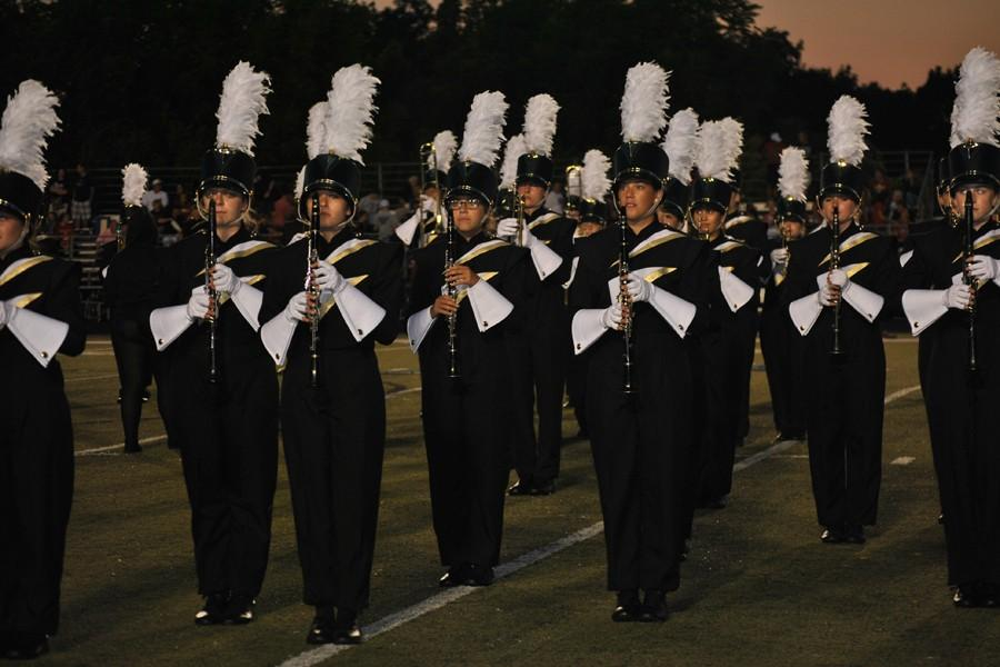 The OHS marching band performs their show at a recent football game.