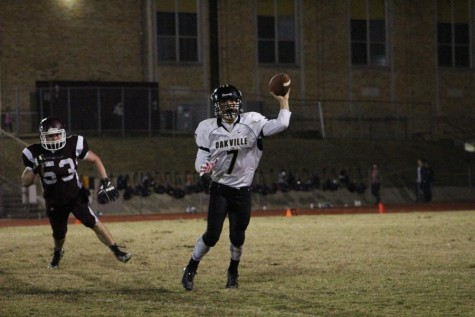 Quarterback Bailey Vuylsteke (12) throws a pass in the game against Poplar Bluff on Oct. 23.