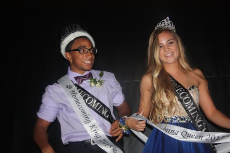 Homecoming king Austin Neal and queen Kassidy Ham celebrate.