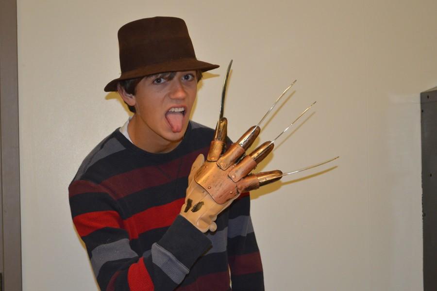 Ian Eldridge poses in his costume.