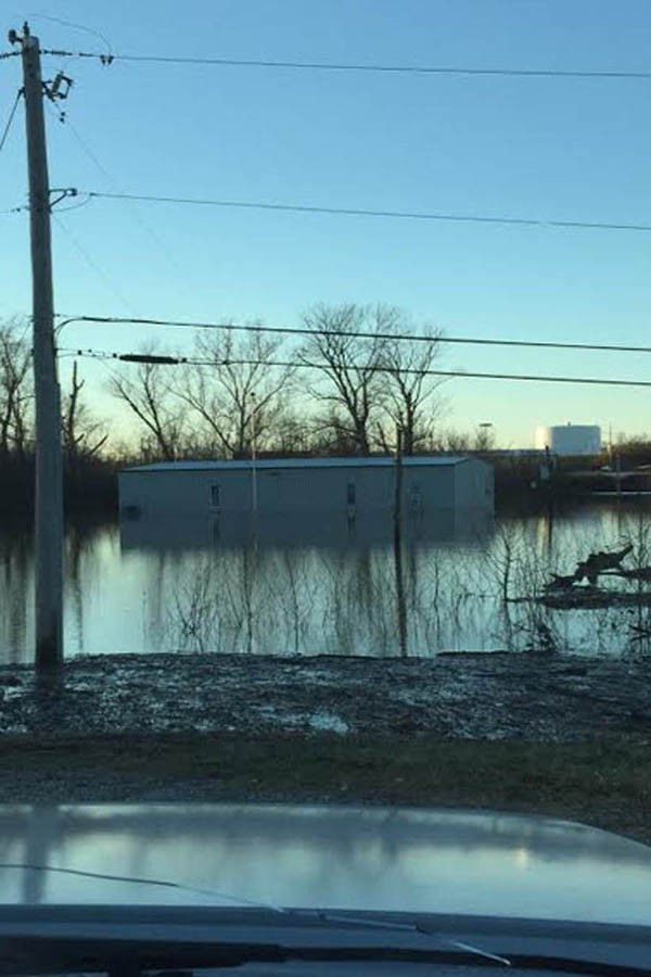Flood water rises on Lemay Road.