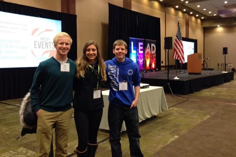 Blake Dillow, Amy Kaznica, and Iain Bennett pose for a picture at the LEAD conference.