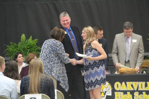 Students accepted awards at Academic Achievement Night.
