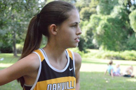 Emma Mueller (10) prepares to run at the Lutheran South Meet at Jefferson Barracks on Sept. 1.