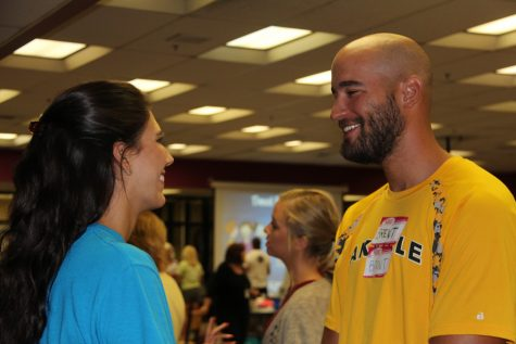Ms. Samantha Bhambri and Mr. Brent Wildhaber working together during Kagan training over the summer.