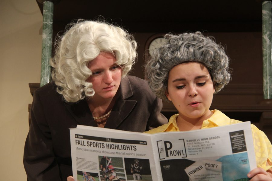 Rehearsing from the fall play, Taylor Zapf (11) and Allison Harvey (11) gave in shock at the