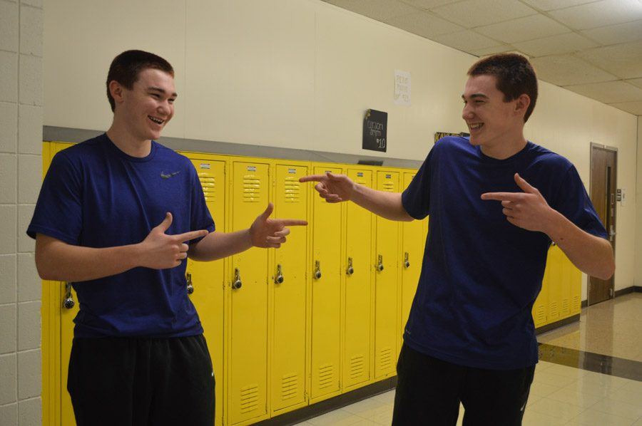 Matt Pinner (11) and Mark Pinner (11) celebrate twin day.