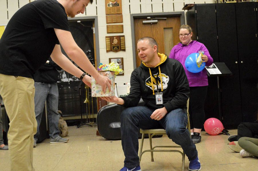 Surprise baby shower for choir director