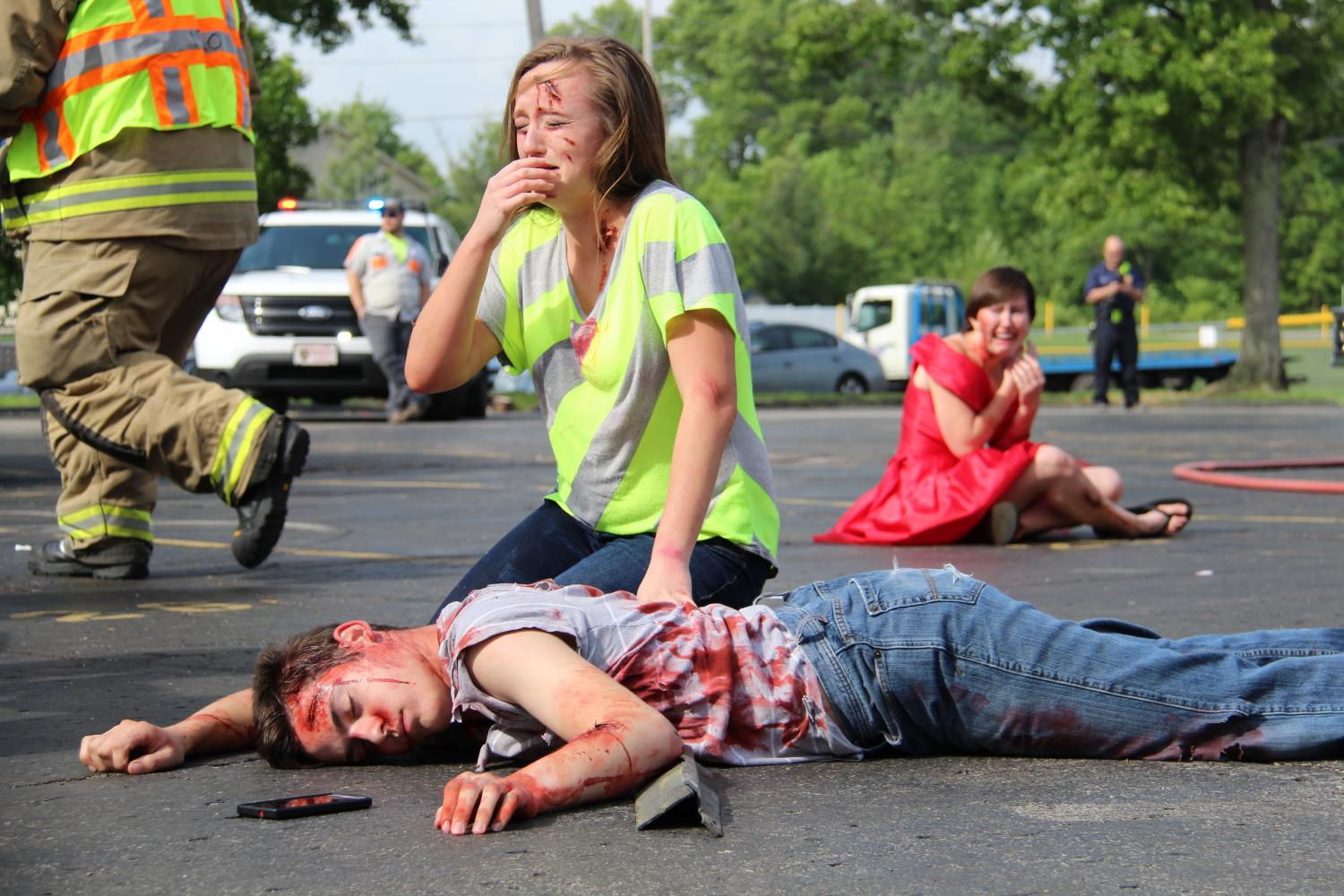 Mock car crash
