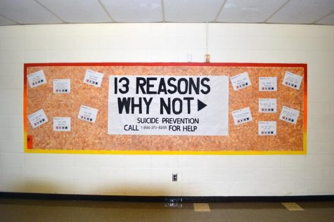 13 Reasons Why Not poster hangs in second floor hallway.