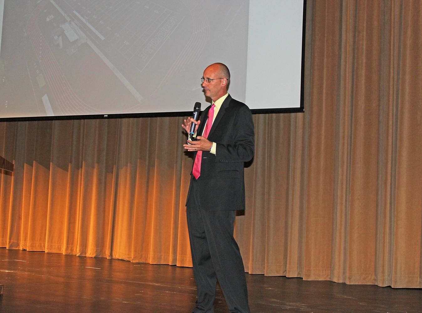 Mehlville superintendent Dr. Chris Gaines speaks of the current status and goals for the school district during his State of the District presentation on Monday, Sept. 18, in the Nottelmann Auditorium.