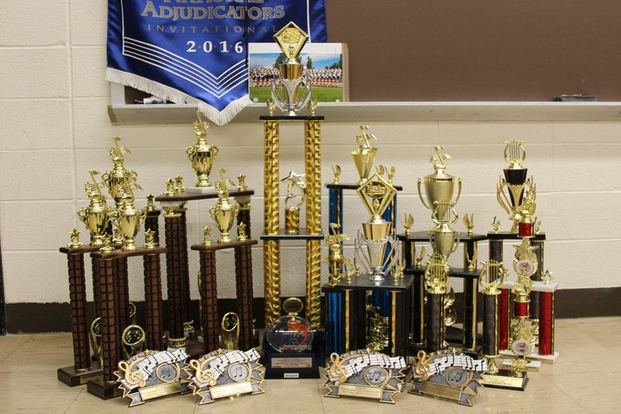 The band hardware piles up in the band room.