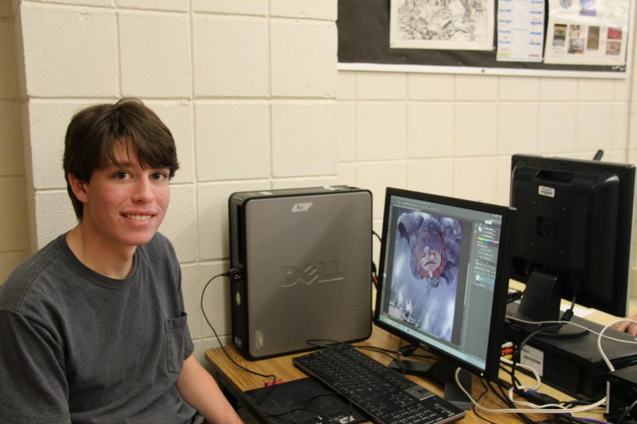Aaron Bell poses with his digital art.
