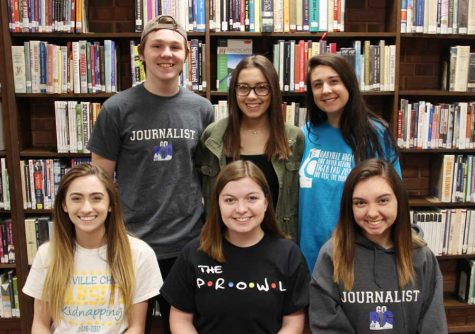 Award winners Melanie Neff (12), Mckenzie Knapp (12), Rachel Delgado (12). Max Rodenbeck (12), Kayleigh Tritschler (11), and Kristin Kuchno (11) pose for a picture in the OHS library after returning from the convention.