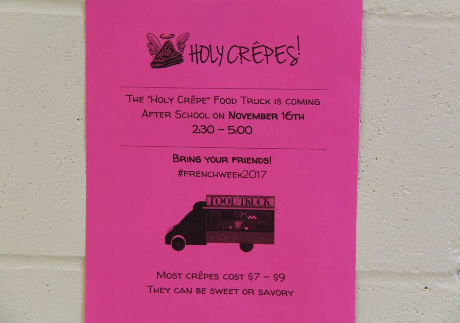 Holy Crêpes flyer hangs second floor hallway on Nov. 10.