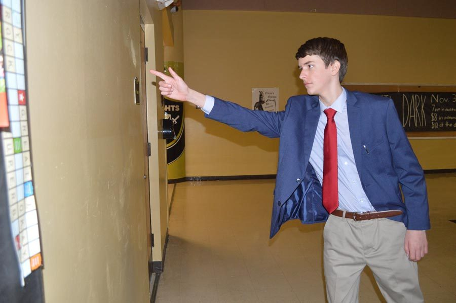 Connor Jones (11) practices his speech before he competes at Francis Howell High School in November 2016.