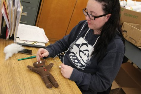 3D art student Haley Lockamy (12) works on her stuffed animal project during class on Nov. 10.