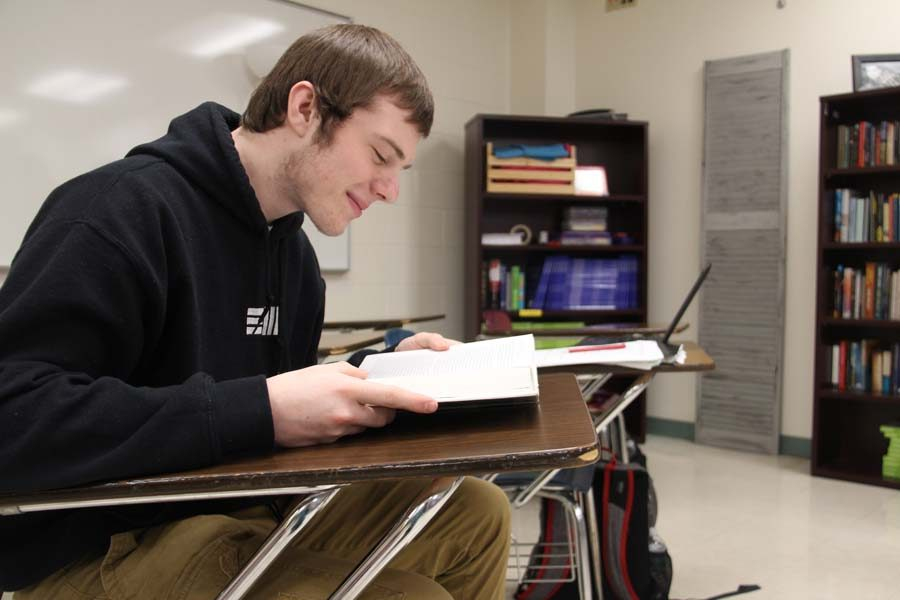 Chase+Ackmann+%2811%29+studies+for+his+AP+Language+exam+on+Dec.+19.
