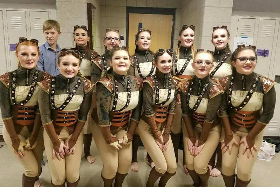 Winter Guard poses for a picture at the Mascoutah, IL competition on Jan. 27.