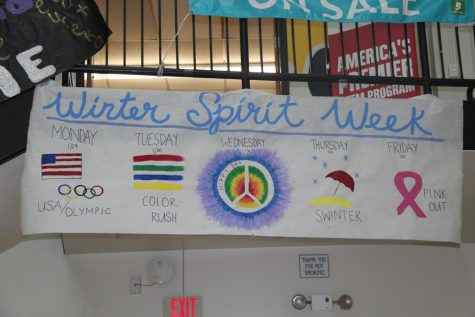 The banner made by Leadership hangs high in the commons on Jan. 26.