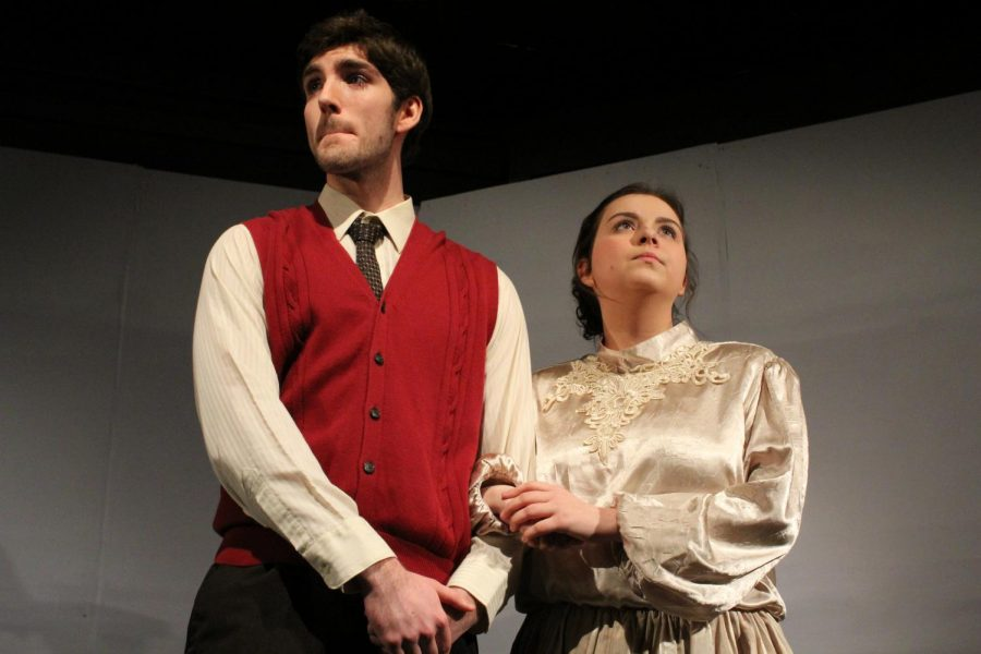 Allison Harvey (12) and Nick Wheatley (120 look out in the distance as they play the parents of Turner's character.