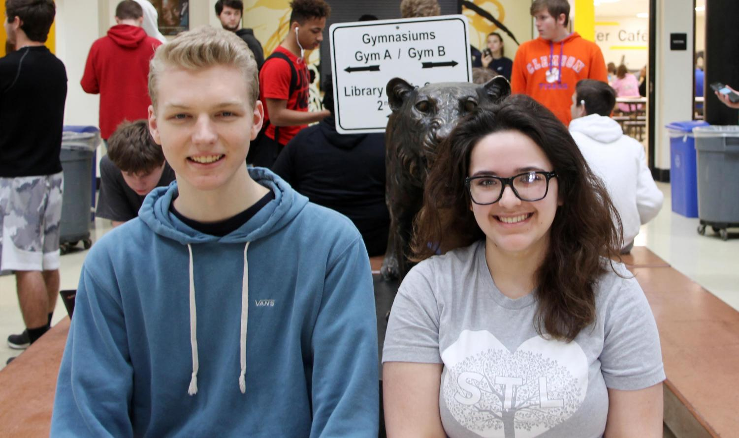 Ryan Westwood (12) and Olivia Rauls (12) pose for a picture in the commons on April 12.