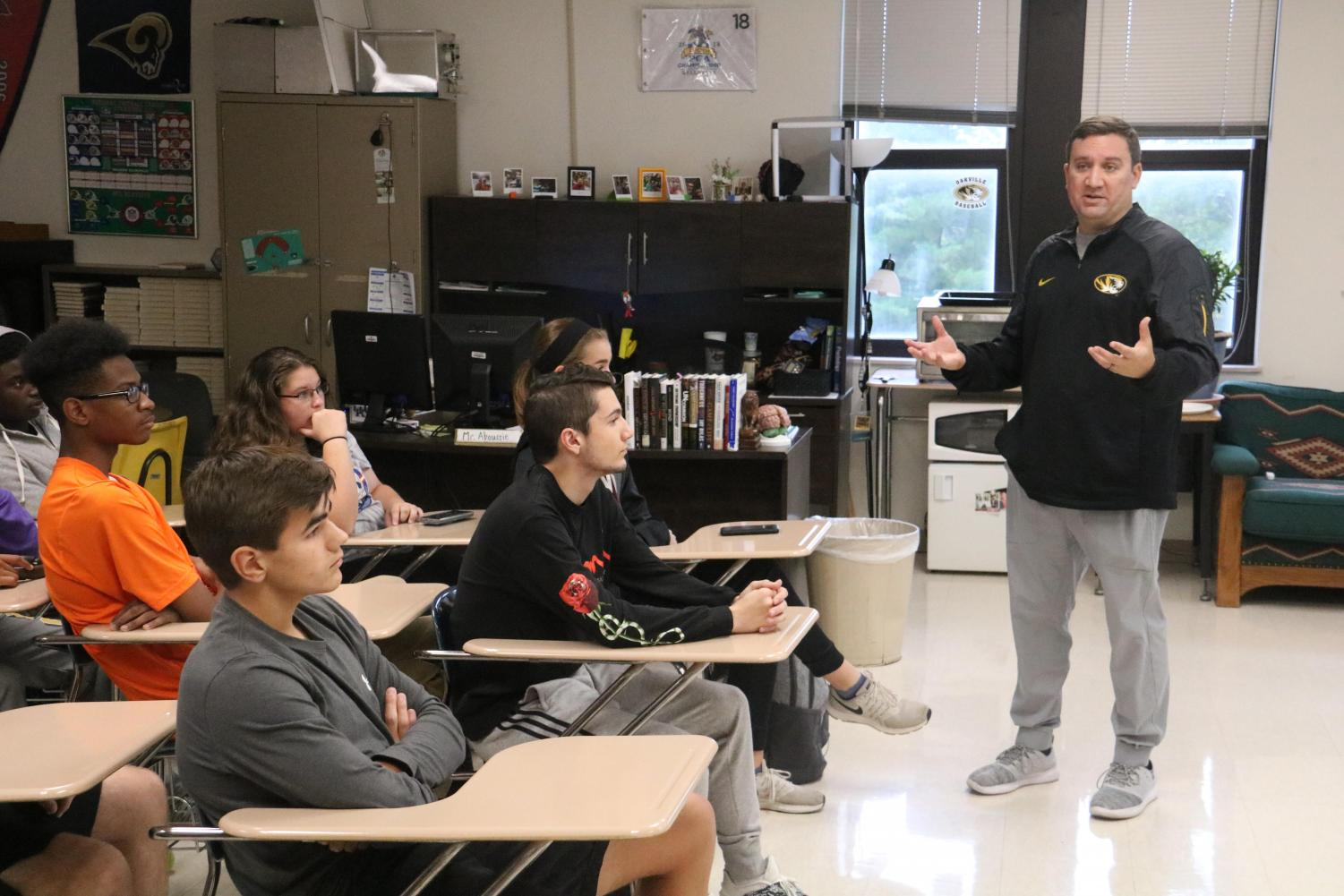 Mr. Nick Aboussie educates students in the first College-bound Athlete seminar on Oct. 12.