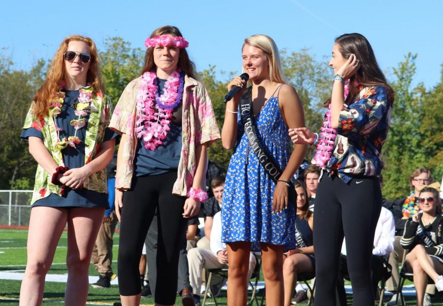 Members+of+the+varsity+volleyball+team+tell+OHS+about+their+season+at+the+Homecoming+assembly+on+Sept.+28.