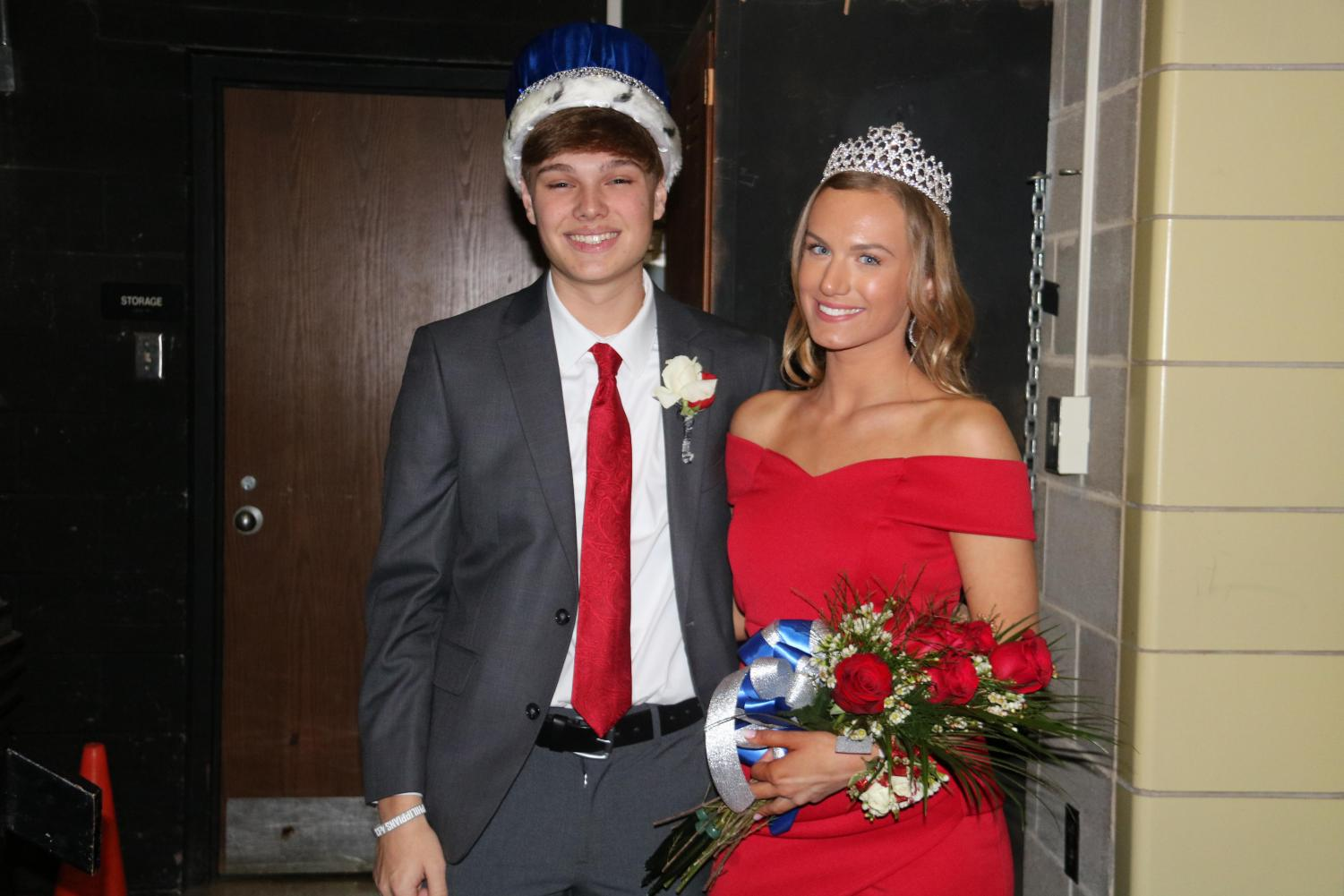 Eddie Morgan (11) and Emily Turner (10) receiving the winter formal king and queen.
