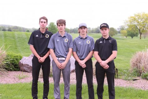James Drennan (11), Oliver Right (11), Andrew Ellis (11) and Travis Herrick (11) make sectionals at Crown Pointe Golf Course on April 29.