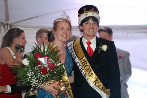 Tommy Purschke (12) and Grace Bellovicb (12) are crowned Prom King and Queen.