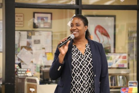 The new OHS building principal, Mrs. Tamara Sunkett, gives a speech in the OHS library.