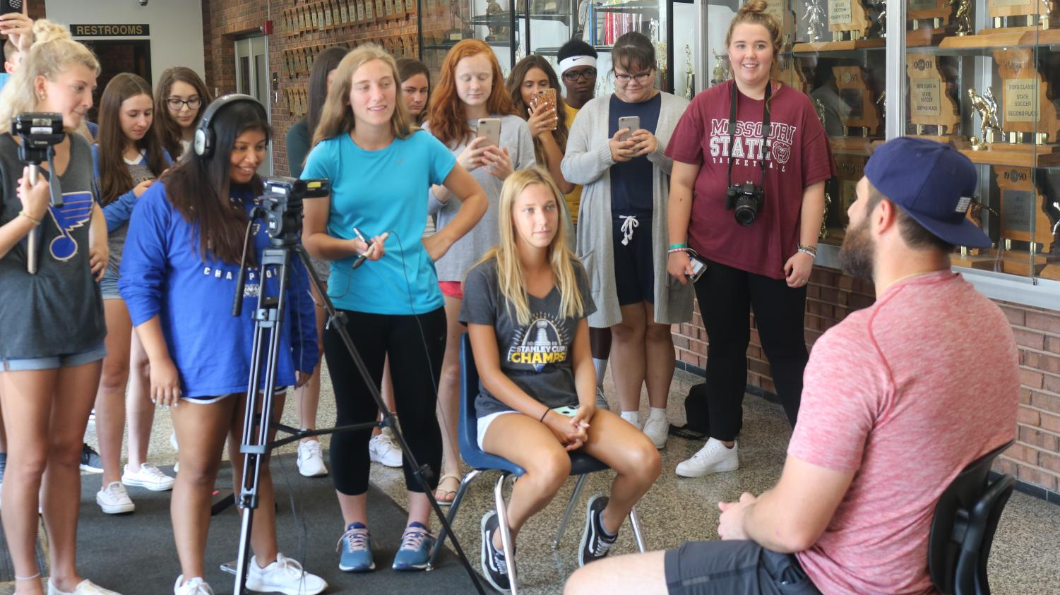Jenna Frisella and members of the 7th block broadcast staff interview Pat Maroon on Aug.19 in the Gym A lobby.