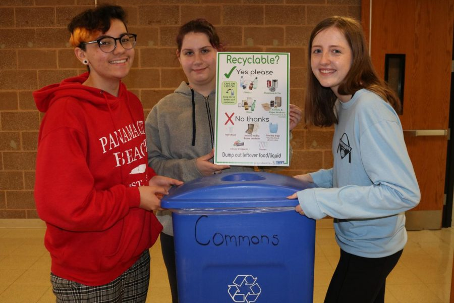 Mac Cooper (11), Isabella Thebeau (11), and Katie Seithel (11), spread the idea of recycling to help the environment.