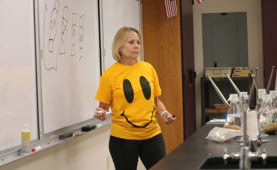 Mrs. Laura Thomas honors Mr.Ken Kolwyck by wearing a shirt made in his honor.