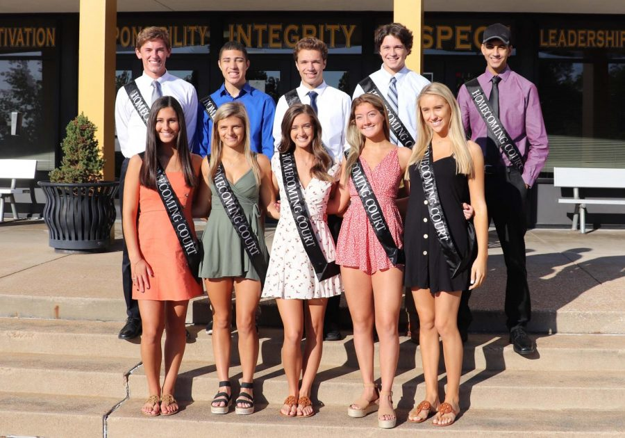 The+Homecoming+court+stands+in+front+of+OHS%2C+ready+for+the+dance.