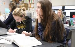 Gabby McMurry (11) studies with an online textbook while Ciara Gallagher (11) uses a physical book.