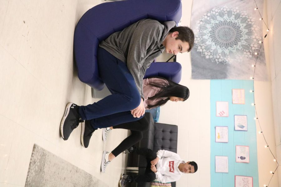 Students relax in the new chairs in Ms. Betz's room