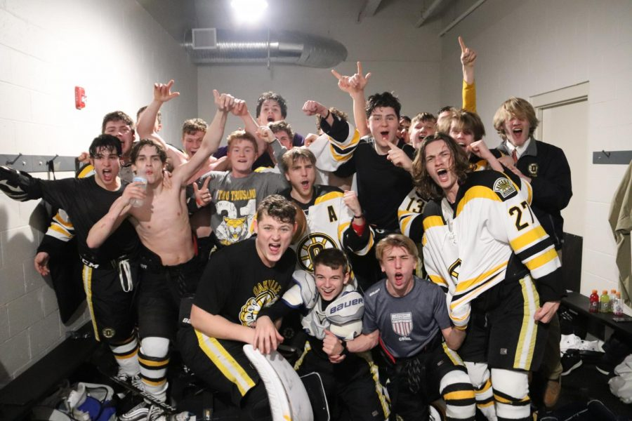 OHS Boys Hockey poses in the locker room after winning against Westminster 4-1, advancing to play at Enterprise Center on March 11.