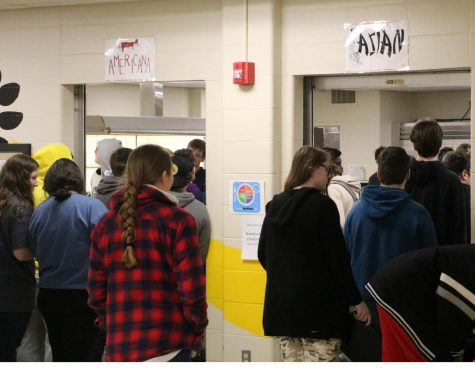 Students wait in one of the new lunch lines at second lunch.