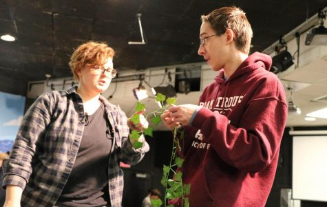 Drama teacher/ technical director Melissa Harper, and Jeremiah Andrews (10) discussed the props for the upcoming play.