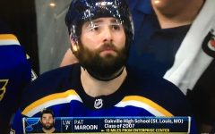 Camera zooms in on hometown hero, Pat Maroon, during Game 4 against the San Jose Sharks, during the 2018-2019 Western Conference Finals.