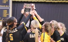After winning 3-0 against Mehlville Panters, OHS volleyball celebrates their big district win.